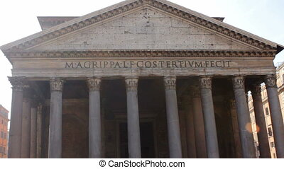 Frontal View of pantheon Tilt Up. Filmed on a sunny autumn...
