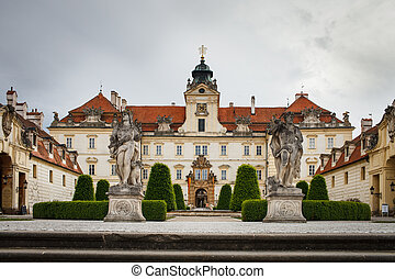Frontal view of the baroque Castle of Valtice (South Moravia, Czech Republic)