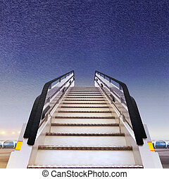 white ramp in airport - frontal view of white ramp in...