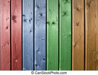 frontally., parede, forro, pinho, multicolor, madeira, board., closeup