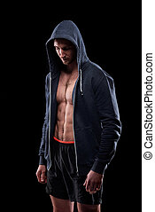 fronte, atleta, macchina fotografica, calzoncini, unzipped, standing, hoodie, giovane
