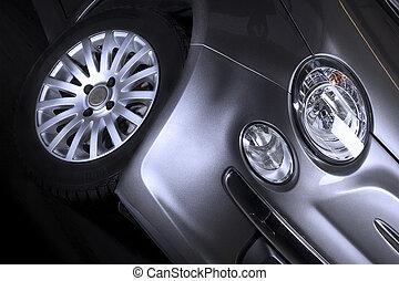 fronte, automobile, faro, dettaglio, pneumatico
