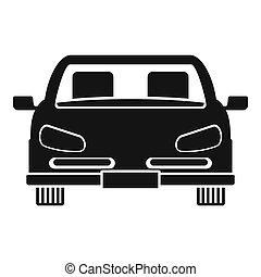 fronte, automobile, icona, stile, semplice