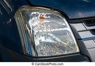 fronte, automobile, lampada, polacco