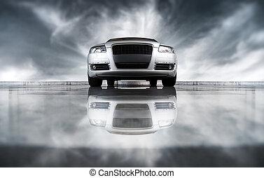 fronte, automobile, moderno, vista