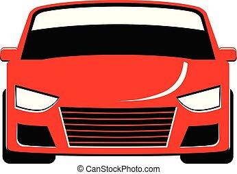 fronte, automobile, vettore, rosso, vista