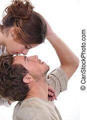 fronte, baciare, donna, uomo