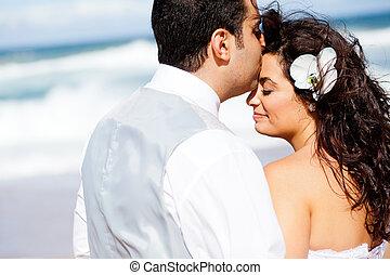 fronte, baciare, sposo, sposa, amare