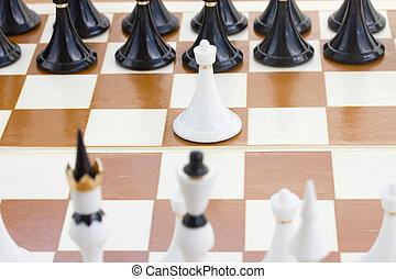fronte, bianco, nero, scacchi, pegno