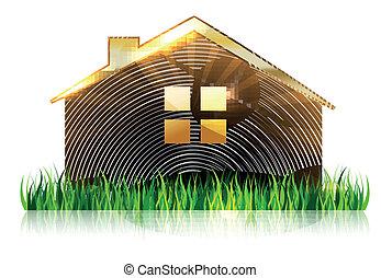 fronte, casa, erba