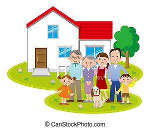 fronte, casa, famiglia