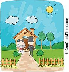 fronte, casa, piccolo, sposo, sposa