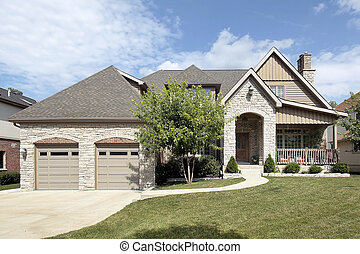 fronte, casa, pietra, lusso, veranda