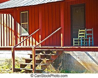 fronte, casa, vecchio, rosso, veranda