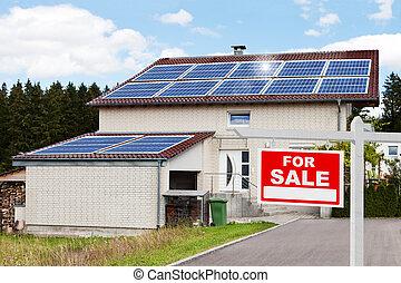 fronte, casa, vendita, segno