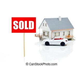 fronte, casa, venduto, segno