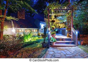 fronte, casa, veranda