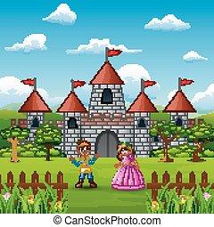fronte, castello, coppia, principe, principessa