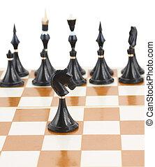 fronte, cavaliere, nero, scacchi