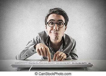 fronte,  computer, uomo