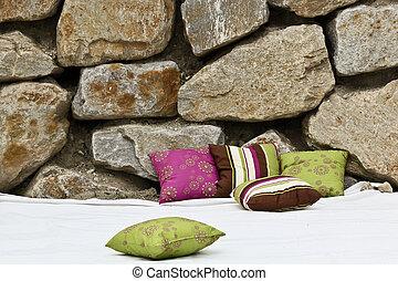 fronte, cuscini, pietre