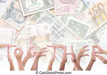 fronte, differente, valute, parola, insieme