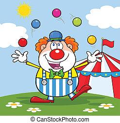 fronte, divertente, pagliaccio circo, tenda