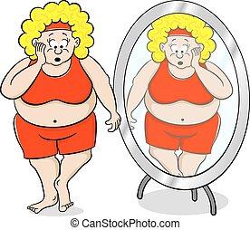 fronte, donna, sovrappeso, abbicare, specchio