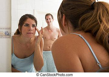 fronte, donna, specchio