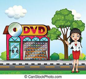 fronte, dvd, ragazza, negozio