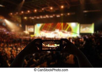 fronte, foto, palcoscenico, concerto, prendere