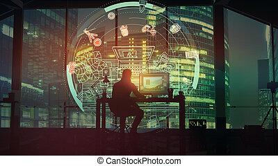 fronte, infographics, affari, trascurare, ufficio, fotografo, centro