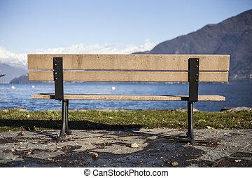 fronte, lago, panca