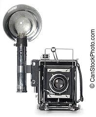 fronte, lampo, macchina fotografica, retro, vista