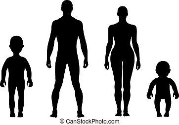 fronte, lunghezza, pieno, silhouette, umano