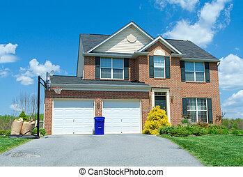 fronte, mattone, paramontato, famiglia sola, casa, suburbano, md