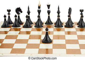 fronte, nero, scacchi, pegno