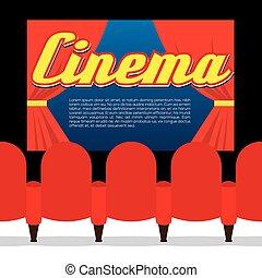 fronte, posti, screen., cinema