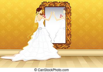 fronte, sposa, specchio