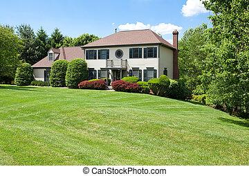 fronte, suburbano, singola casa famiglia, pendio, francese