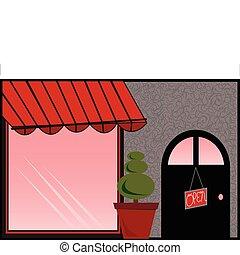 fronte, tenda, negozio, rosso