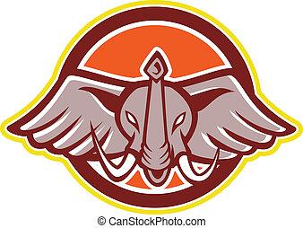 fronte, testa, cartone animato, elefante