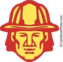 fronte, testa, retro, pompiere