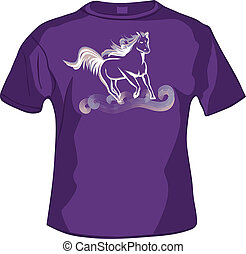 fronte, tshirt, cavallo