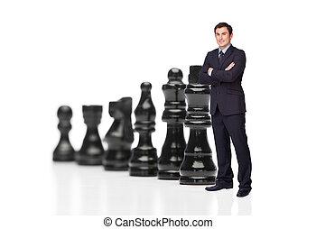 fronte, uomo affari, nero, pezzi gioco scacchi