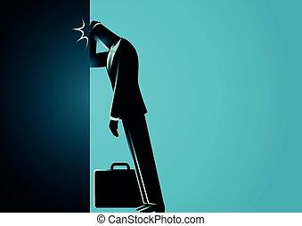 fronte, uomo affari, suo, parete, inclinandosi