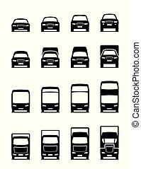 fronte, veicoli, trasporto, strada