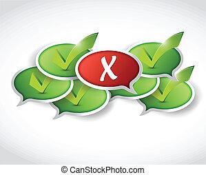 fronte, x, messaggio, segno spunta