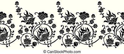 fronteira floral, branca, pretas, seamless