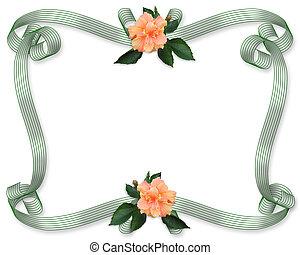 fronteira floral, convite, hibisco
